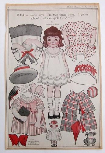 Vintage Pollykins Pudge Paper Dolls 1919 Deco Era Barbara Hale Cape School Dress   eBay