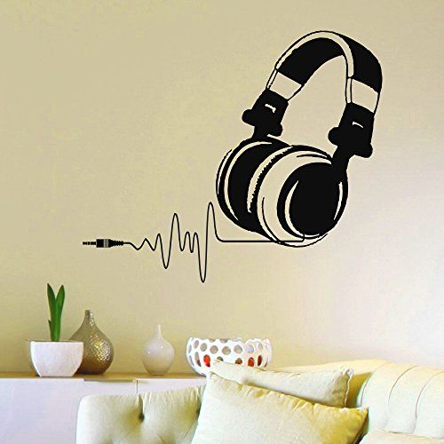 Vinyl Wall Decals DJ Headphones Audio Music Pulse Sign Decal Sticker Home  Wall Decor Art Mural