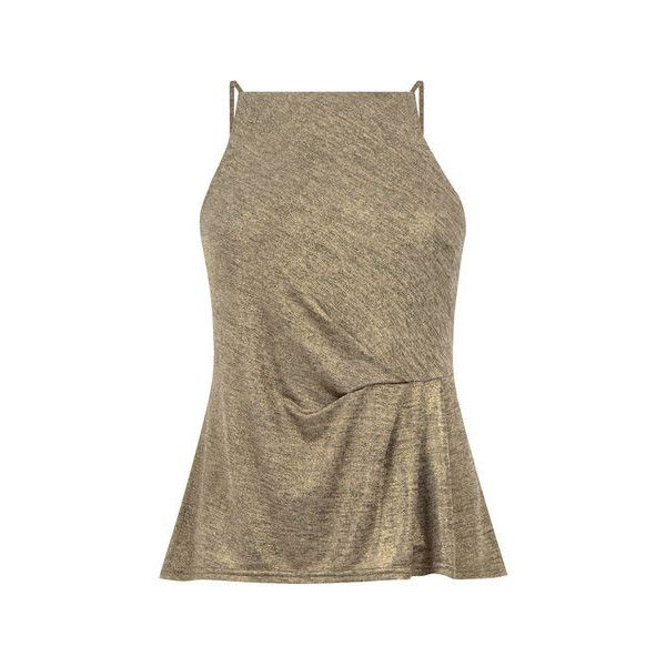Warehouse Wrap Front Metallic Top (35 CAD) ❤ liked on Polyvore featuring tops, gold colour, brown cami, brown camisole, cami top, metallic top and brown tops