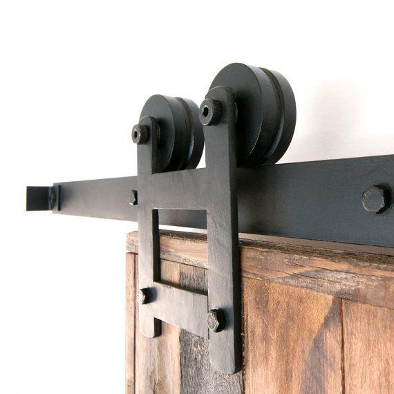 industrial  classic double wheel sliding barn door closet