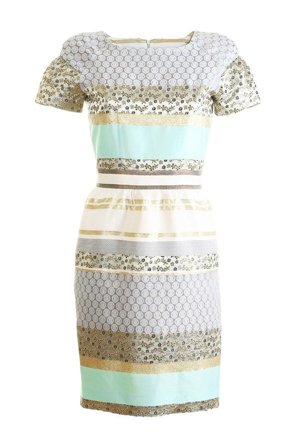 Narciss A fluster of white feathers for a hat or fascinator will top this patchwork dress off nicely. £406, www.shopnarciss.com. #mybetsonbetts