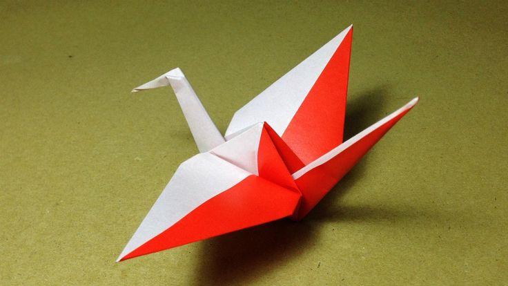 【折り紙(おりがみ)】 動物 鳥 紅白のツルの折り方 作り方