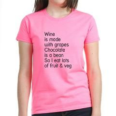 Wine is made with grapes. Chocolate is a bean. So I eat lots of fruit & Veg. Available through cafepress!!