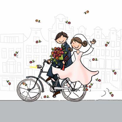Trouwkaart fiets klant bruin haar - Trouwkaarten - Kaartje2go