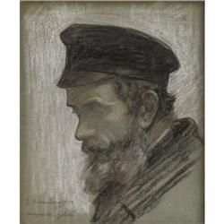 Samuel Hirszenberg Charcoal and white chalk