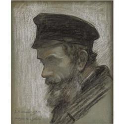 Samuel Hirszenberg Charcoal and white chalk