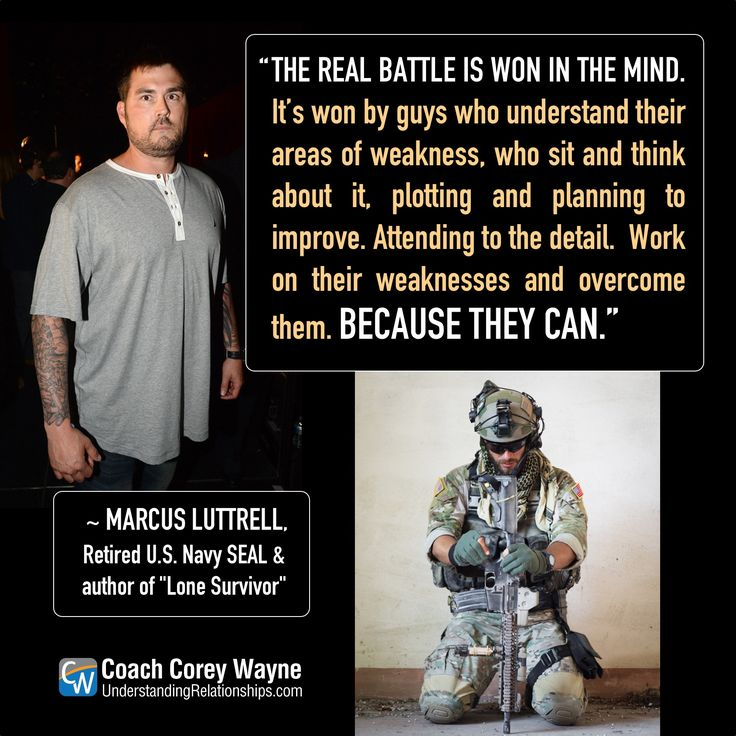 "#marcusluttrell #american #navyseal #lonesurvivor #soldier #military #battle #improvement #adversity #challenges #selfdetermination #strength #success Photos Jeff Kravitz/FilmMagic for Spike TV/Getty Images/iStock.com/alessandroguerriero ""The real battle is won in the mind. It's won by guys who understand their areas of weakness, who sit and think about it, plotting and planning to improve. Attending to the detail.  Work on their weaknesses and overcome them. Because they can."" ~ Marcus…"