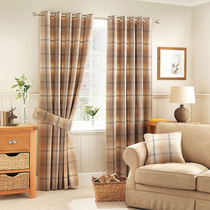Highland Check Ochre Lined Eyelet Curtains | Dunelm