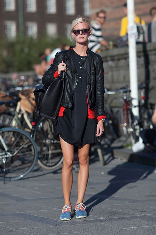Love her nikes & dress!  Cool look for the weekend :)