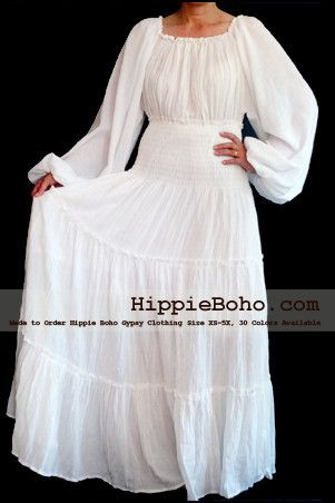 No.305  - Size XS-5X Hippie Boho Bohemian Gypsy White Long Sleeve Plus Size Sundress Tiered Peasant Full Skirt