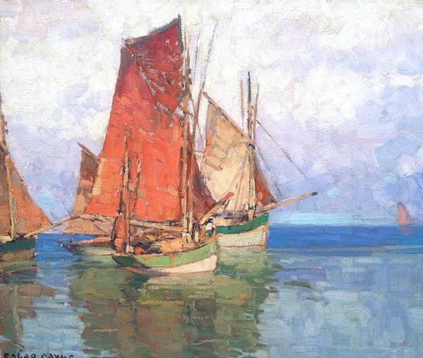 Artist Name: Edgar Payne  Title: French Tuna Boats  Date: c.1925-1930    Size:  20 H x 24 W    Medium: Oil on Canvas    Status: Available