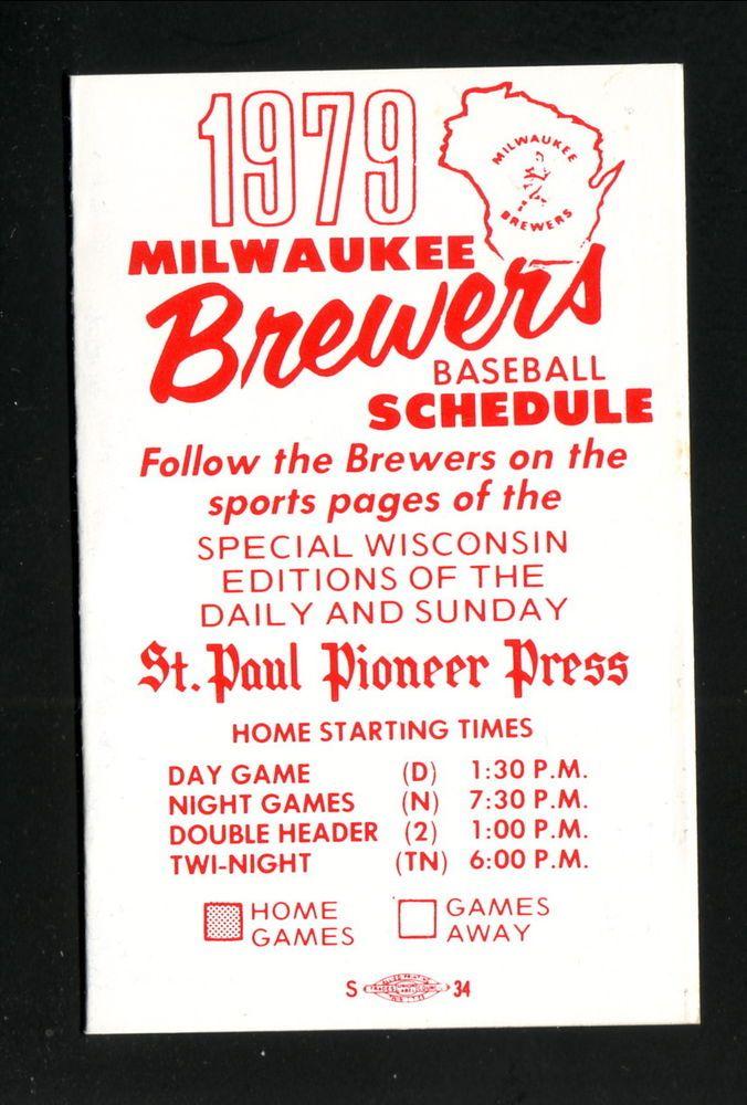 1979 Milwaukee Brewers Schedule--St Paul Pioneer Press #Pocket