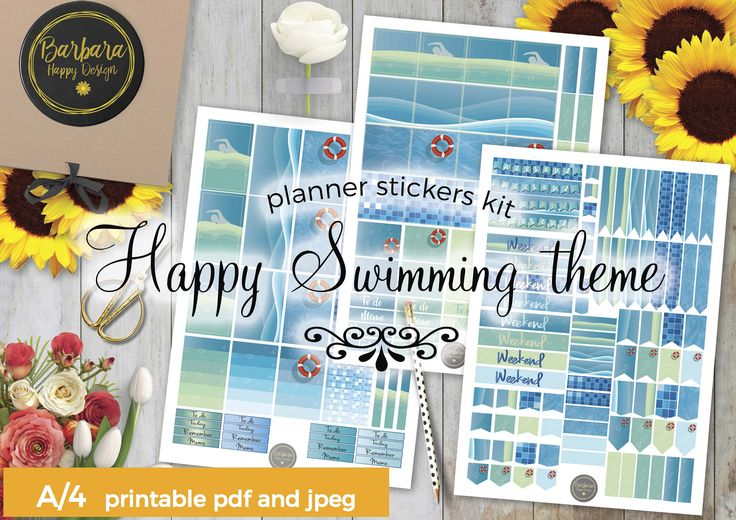 Swimming Stickers Kit - Printable planner stickers - Weekly stickers - Swimming Decorations - Water stickers - Water Decorations di BarbaraHappyDesign su Etsy
