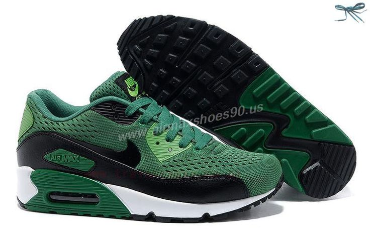 Nike Unisex's Running Shoes Air Max 90 Black / Black-White-Lucky Green
