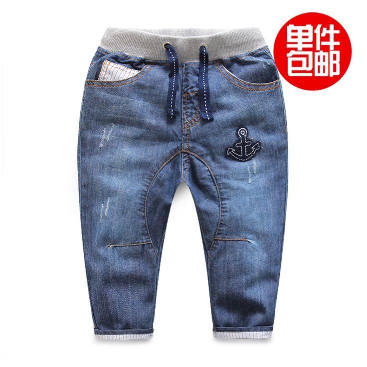 Ребенок весенние и осенние брюки детская одежда 2016 аппликация якорь ребенок случайные штаны мужчины ребенок джинсовые брюки