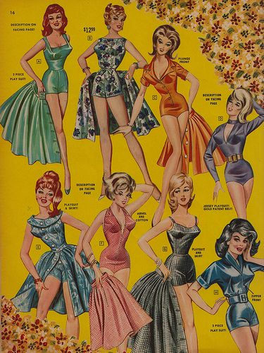 Playsuits & Skirts by Frederick of Hollywood 1964 short skirts bathing suit black green orange pink blue color illustration print ad 60s