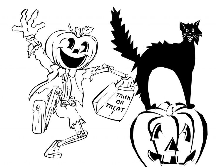 Halloween Pumpkin Monster With Scary Cat Sitting On Coloring Page