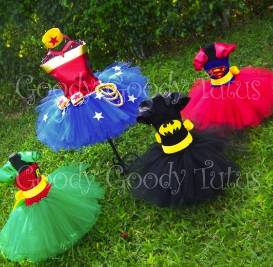 Superhero tutus. Too cute!! Who says you can't feel like a superhero and a princess all at once?  One day I will need this...