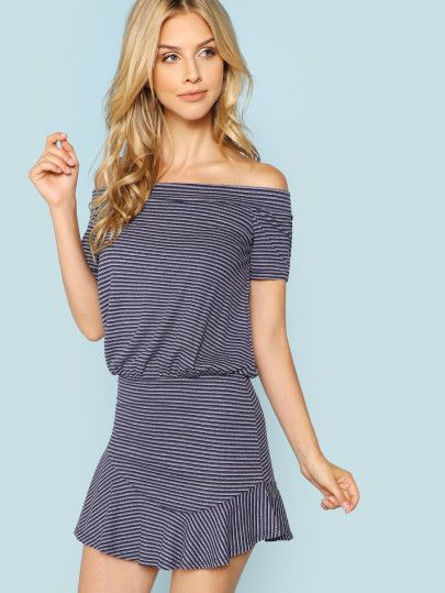 f840441a9435f Off The Shoulder Striped Dress -SheIn(Sheinside)