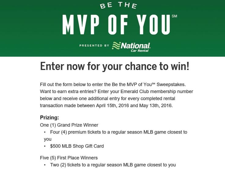 Enter the National Car Rental Be the MVP of You Sweepstakes for a chance to win Four MLB Tickets for four to your closest Team and a $500 MLB.com Shop Gift Card!