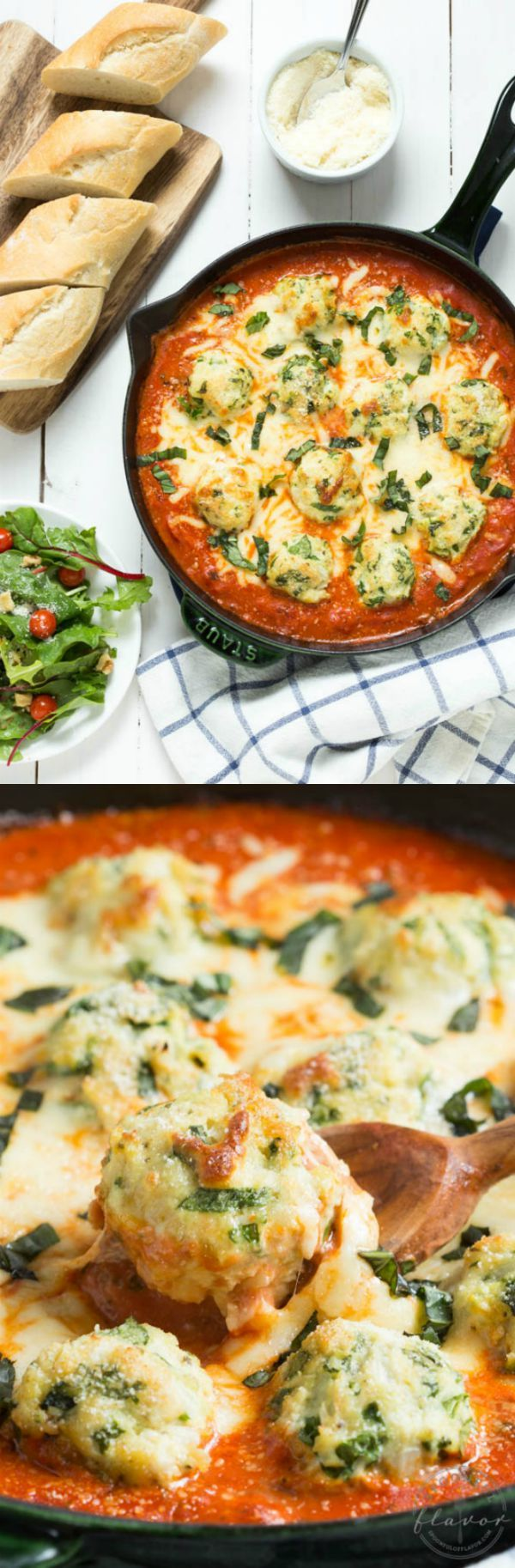 Spinach Chicken Parmesan Meatballs in Creamy Tomato Sauce is a delicious meal that the entire family will love!