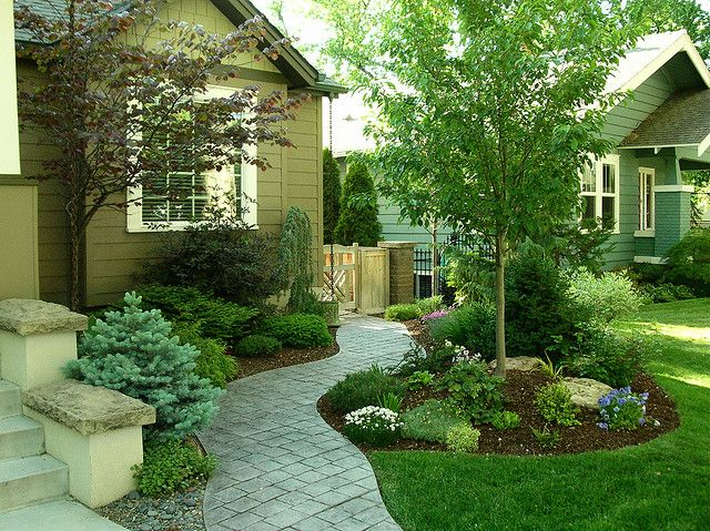 Simple landscape idea for average yards. I like the short evergreen shrub in the forefront