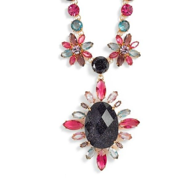 Women's Kate Spade New York Night Sky Pendant Statement Necklace (590 BRL) ❤ liked on Polyvore featuring jewelry, necklaces, purple multi, purple pendant necklace, statement necklace, purple jewelry, purple stone necklace and party necklaces