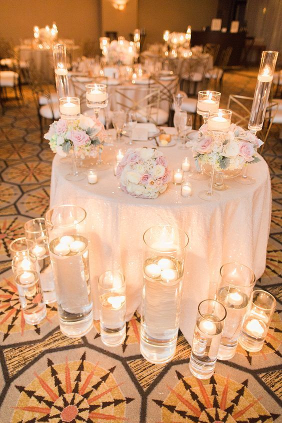 Candle lit wedding reception / http://www.deerpearlflowers.com/wedding-ideas-using-candles/2/