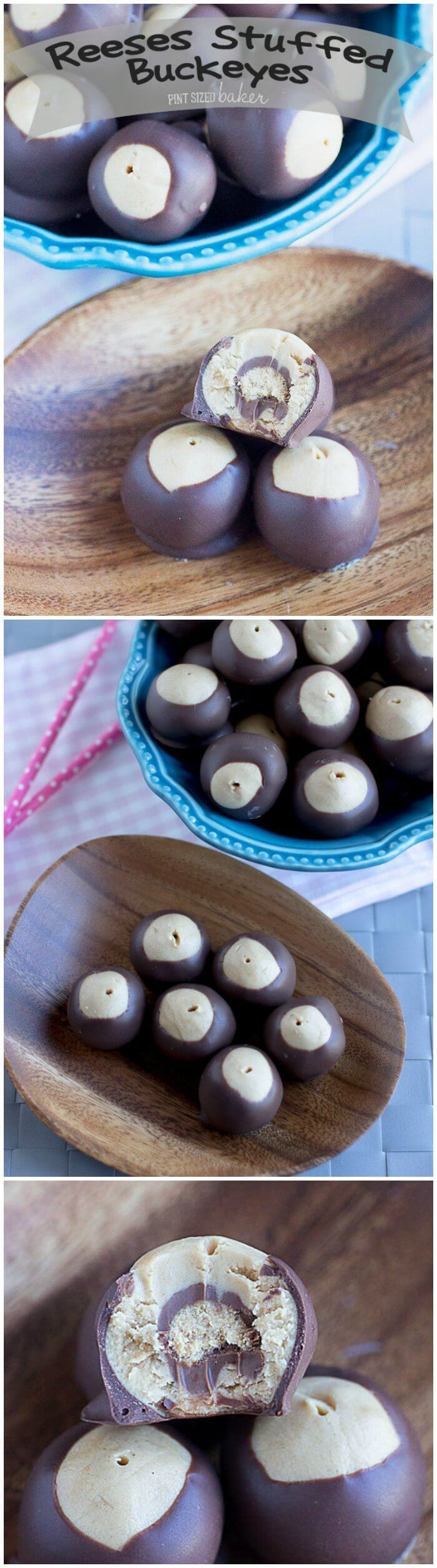 Everyone will flip for these Reese's Stuffed Buckeye Candies. Peanut Butter candy stuffed with a peanut butter candy and then dipped in chocolate. They are so good!!