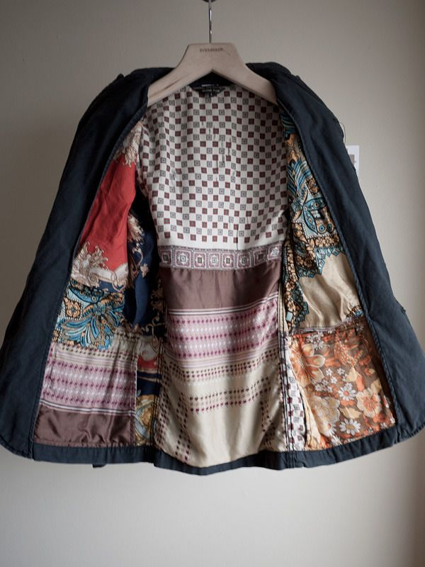 Comme des Garcons Homme Plus - Vintage Foulard Lining Blazer (OR, sewing recycled silk scarf patches on the OUTSIDE of a jacket : )