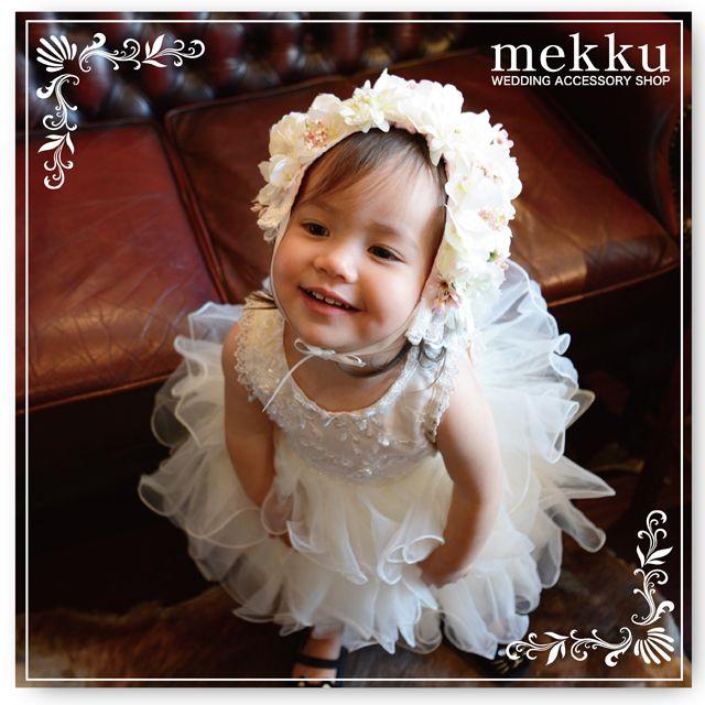 【子供用ヘッドアクセサリー】KIDS用フラワーキャップ[kd003]/ウェディングアクセサリー~mekku~【メック】