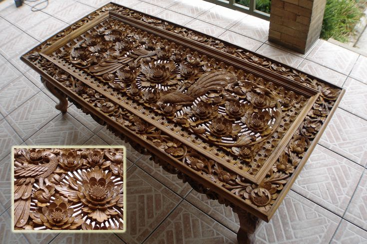 Balinese carved wood table    would be great with a glass top