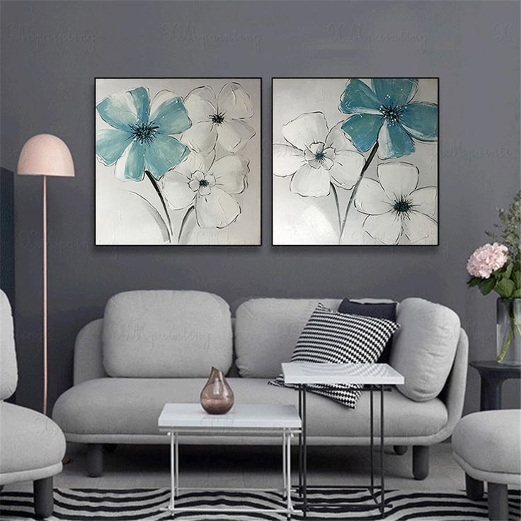 2 pieces acrylic flower abstract painting on canvas wall on modern acrylic paintings for living room id=22537