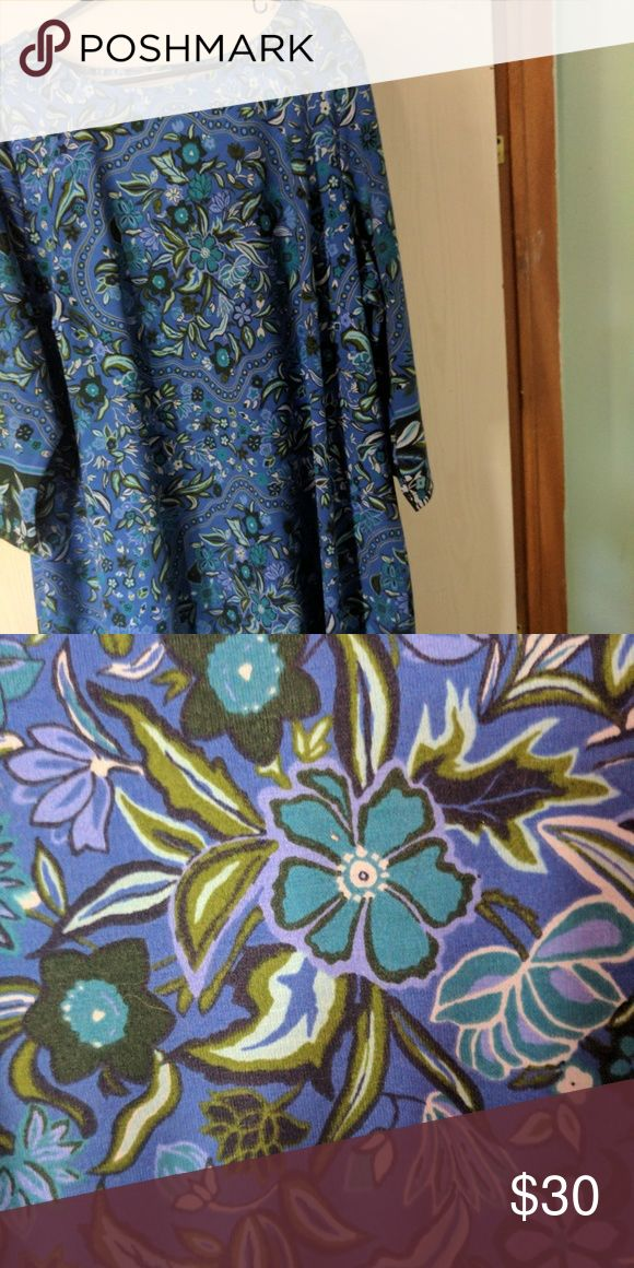 Blue Floral Sheath Dress NWOT NWOT Sheath style, 3/4 length sleeves. Would look great with a pair of cowgirl boots Dresses Midi