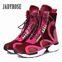 Jady Rose Vrouwen Paardenhaar Enkellaarsjes Lace Up Platform Comfortabele Reizen Schoenen Vrouwelijke Platte Rubber Boot Espadrilles Creepers(China)