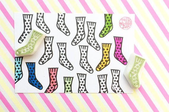 socks rubber stamps. pair of socks stamp. polka dot hand carved stamp. card making for knitting and crochet. winter crafts. set of 2. no2