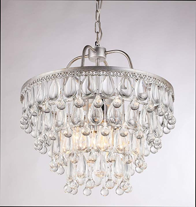Dst Silver 4 Bulb Holders Round Glass Crystal Chandelier Ceiling