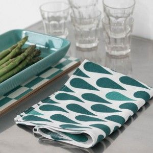 Spira Teal Droppe Tea Towel