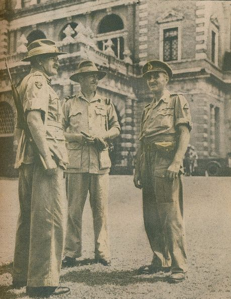 'Leaders in the Burma Campaign met in Rangoon after the city's fall on May 3 1945' 1942 Lieutenant General Sir William Slim Air Vice Marshal Vincent...
