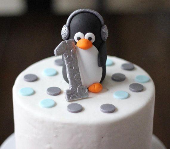 Whimsical 3D Fondant Penguin Cake Topper