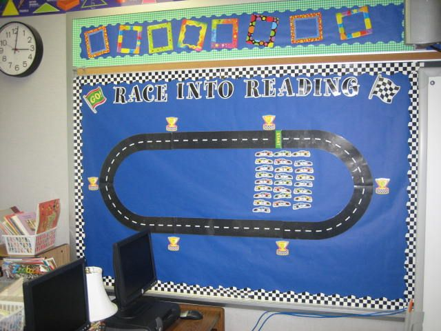 "Another racecar-themed bulletin board -- notice the caption underneath that says it is for ""individual goals"""