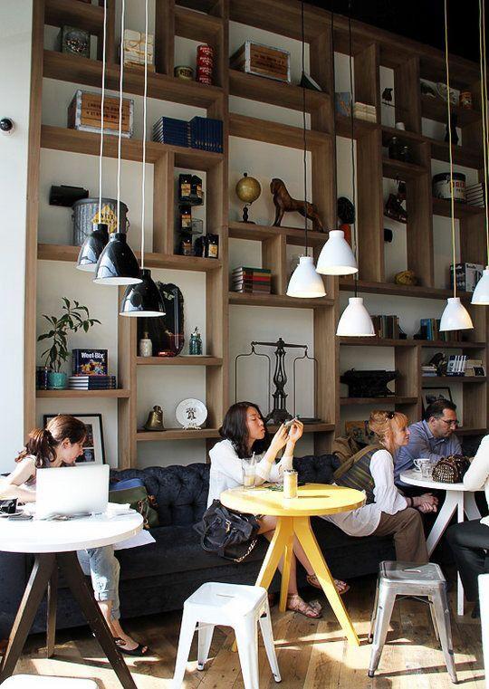 Shelving Idea | Lighting | Coffee shop | Williamsburg | NY