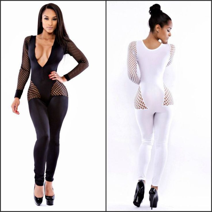 Sexy New Plus Size Women's Long Sleeve Netted Zip Up Tight Jumpsuit sizes m-2xl
