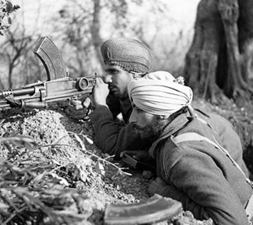 World War II - Sikh soldiers fighting in Italy. The Order of Battle of the Indian Army included the 4th, 8th and 10th Indian Army Divisions. These divisions were part of the legendary 8th British Army and fought along with British, New Zealand, Polish, American, Canadian and French Divisions.