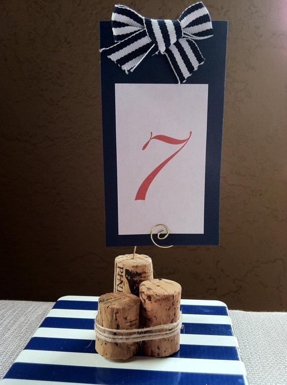 Nautical Wood Piling Cork Table Number or by AngelfishWeddings, $1.75