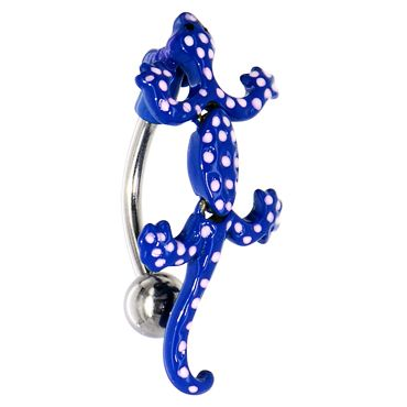 Spotty Lizard Reverse Navel Ring - Rich Blue Top Down Body Jewellery. Find it at www.tummytoys.com.au
