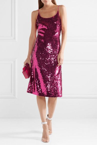 Fuchsia sequined silk-blend chiffon Concealed hook and zip fastening at back 95% silk, 5% Lycra Dry cleanLarge to size. See Size & Fit notes.