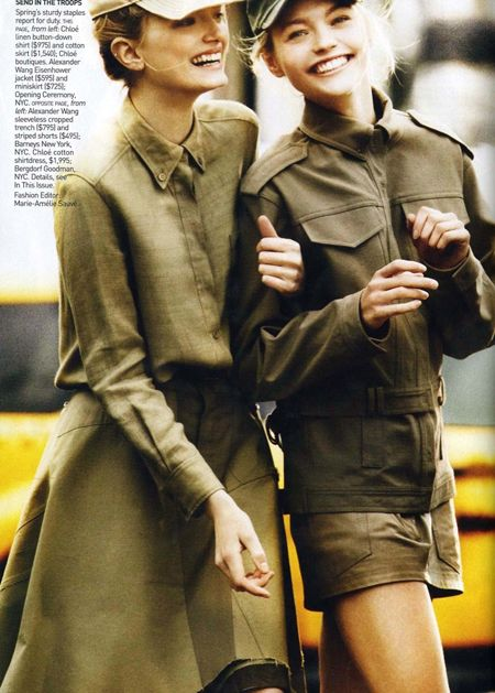 Military jackets featured in Vogue...perhaps a contributing factor to their popularity