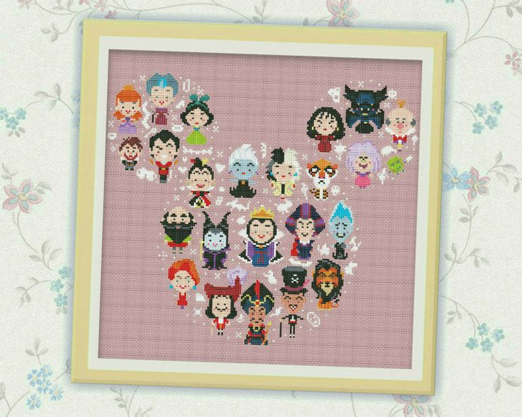 "Disney Mickey Villains ""Large"" Cross Stitch Pattern, Disney cross stitch pattern…"