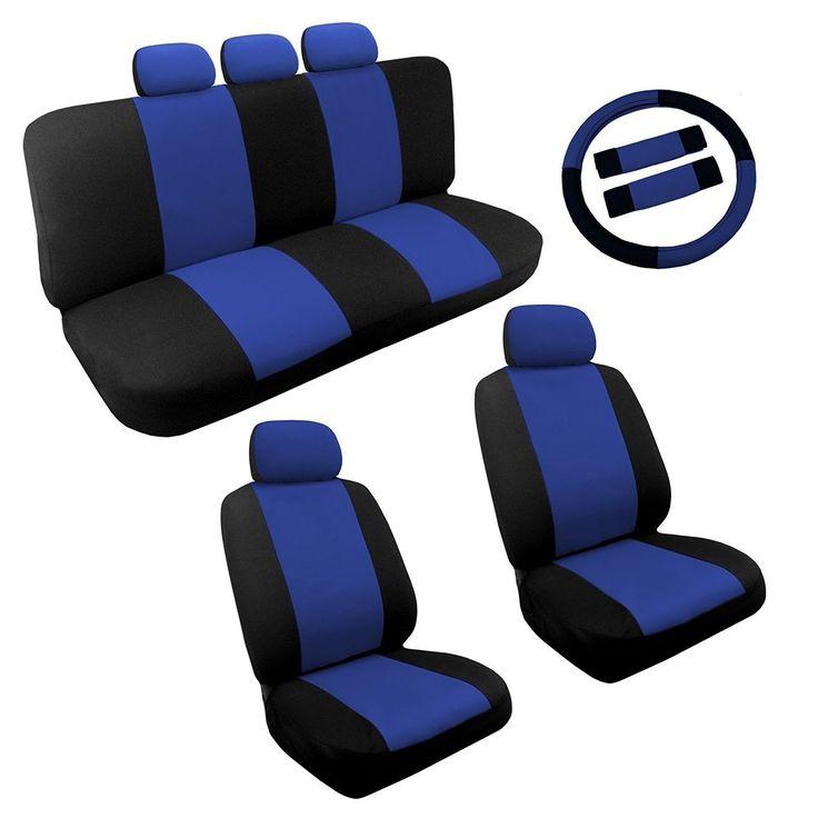 Unique Blue/Black Two Tone Car Seat Covers Steering Wheel Set 14pc - Kia Soul (Color)